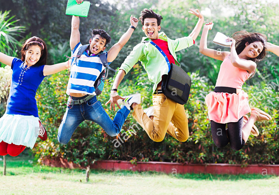 Young Students Jumping